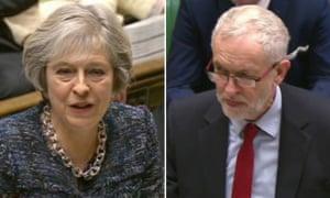 Theresa May and Jeremy Corbyn at PMQs.