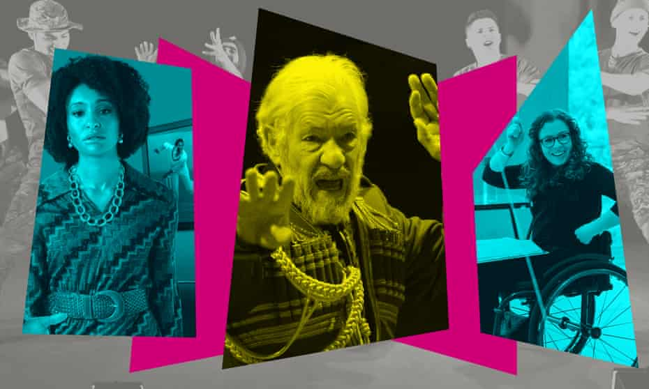 From left: Natalie Simpson (The Death of a Black Man); Hamlet star Ian McKellen (as King Lear); and Amy Trigg (Reasons You Should(n't) Love Me). Background: 10 Soldiers by Rosie Kay whose new show is Absolute Solo II is on tour.