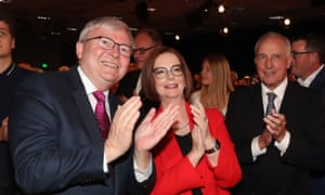 Former prime ministers Kevin Rudd, Julia Gillard and Paul Keating, in Brisbane.