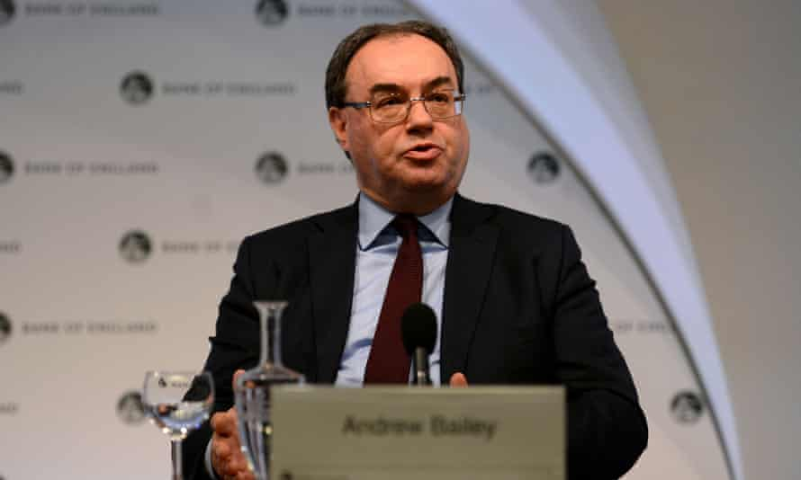 The chief executive of the Financial Conduct Authority, Andrew Bailey, speaks at a press conference at the Bank of England