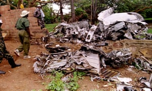 RPF rebels inspect the wreckage of the plane in which Rwandan president Juvenal Habyarimana was killed in April 1994