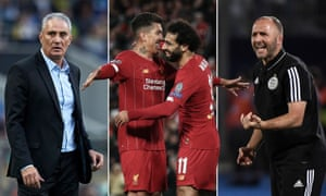 Brazil's manager Tite, Roberto Firmino and Mohamed Salah of Liverpool, and Algeria's coach Djamel Belmadi.