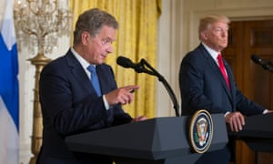 Donald Trump with president Sauli Niinistö of Finland at the White House.