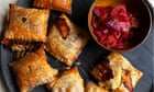 Nigel Slater's recipes for onion pickle, stilton puffs and roast duck salad