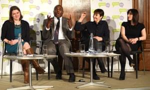 (L-r) Jo Swinson, David Lammy, Caroline Lucas and Bridget Phillipson at the People's Vote event