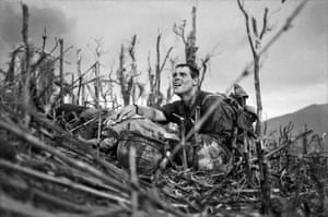 Vietnam, April 1967. US Navy officer Vernon Wike with a dying US Marine at the Battle of Hill 881, near Khe Sanh
