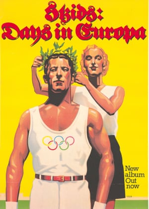 The Skids' Days In Europa poster (1979), which drew complaints about its similarities to Ludwig Hohlwein's designs for the 1936 Olympics in Nazi Germany. It was re-released a year later with a different cover