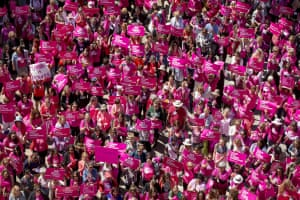 Demonstrators participate in a rally for Planned Parenthood at the capitol in Austin, Texas, on 5 April 2017.