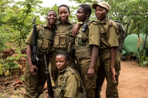 Future Sibanda (29), Tariro Mnangagwa (32), Nyaradzo Hoto (25), Abigail Malzanyaire's (18) and Vimbai Kumire (31 – front row) prepare to deploy. Tariro Mnangagwa is the youngest daughter of recently appointed Zimbabwe President Emmerson Mnangagwa and joined the International Anti-Poaching Foundation (IAPF) team in December to show her support for the women and their role in the re-building of Zimbabwe. During her deployment she conducted training, active duty patrols and engaged in rural community project planning sessions.