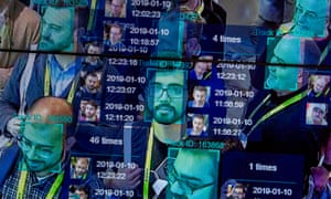 A demonstration of facial recognition at a US exhibition