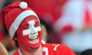 A happy Swiss football fan.