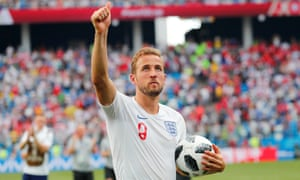 Harry Kane of England clutches the match ball after his hat-trick in the win over Panama, which made him the leader in the race for the Golden Boot.