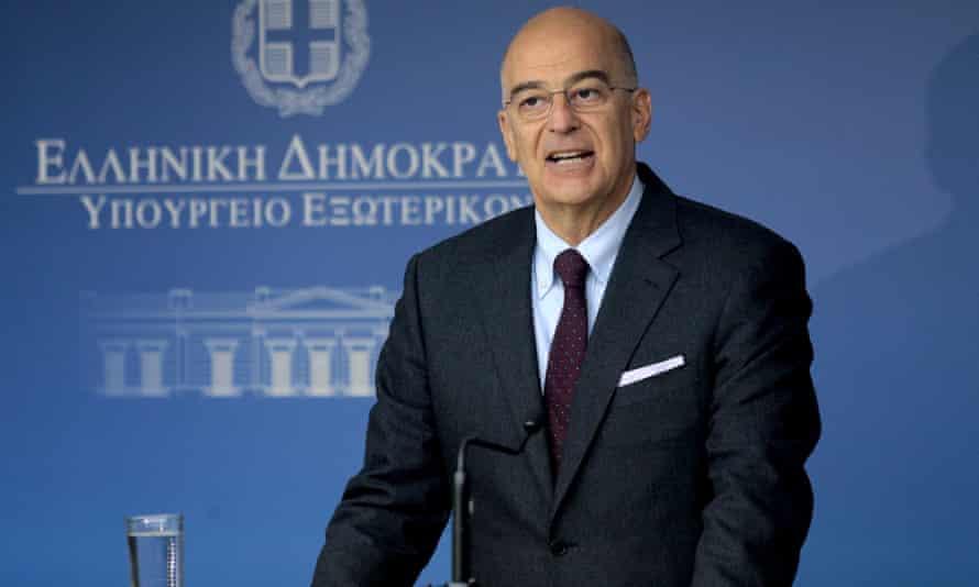 The Greek foreign minister, Nikos Dendias