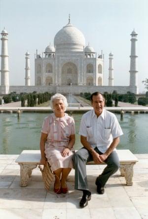 George Bush, then US vice-president, and his wife, Barbara Bush, visiting the Taj Mahal in May 1986