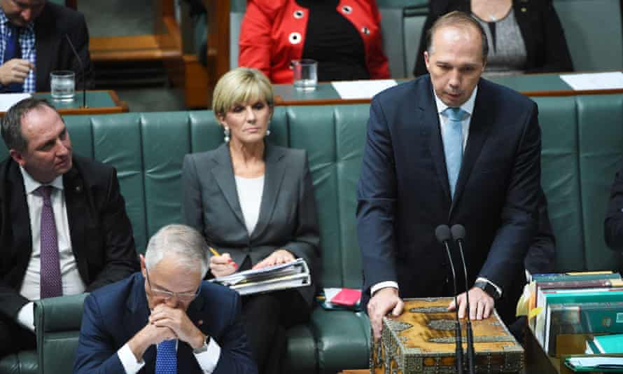 Prime Minister Malcolm Turnbull (left) and Minister for Immigration Peter Dutton during Question Time at Parliament House in Canberra, Wednesday, May 4, 2016.