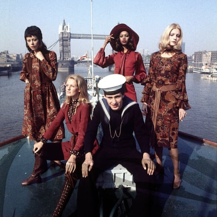 Models show off a 1971 Quant collection on a navy ship in the Thames.