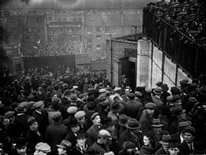 Spectators in the crush at Highbury