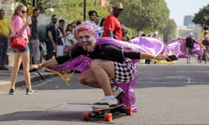 A performer on a skateboard