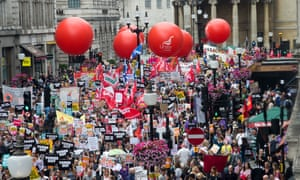 An anti-austerity march in London on 1 July drew  more than 100,000 people.