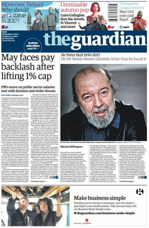 Guardian front page, Wednesday 13 September 2017