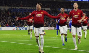 ef2ae1e70 Jesse Lingard celebrates with Nemanja Matic after scoring Manchester  United s fourth goal against Cardiff.