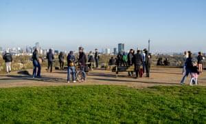 People on Primrose Hill, London, on Sunday