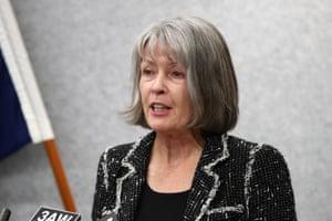 Chief Coroner Judge Deborah Marshall speaks to media.