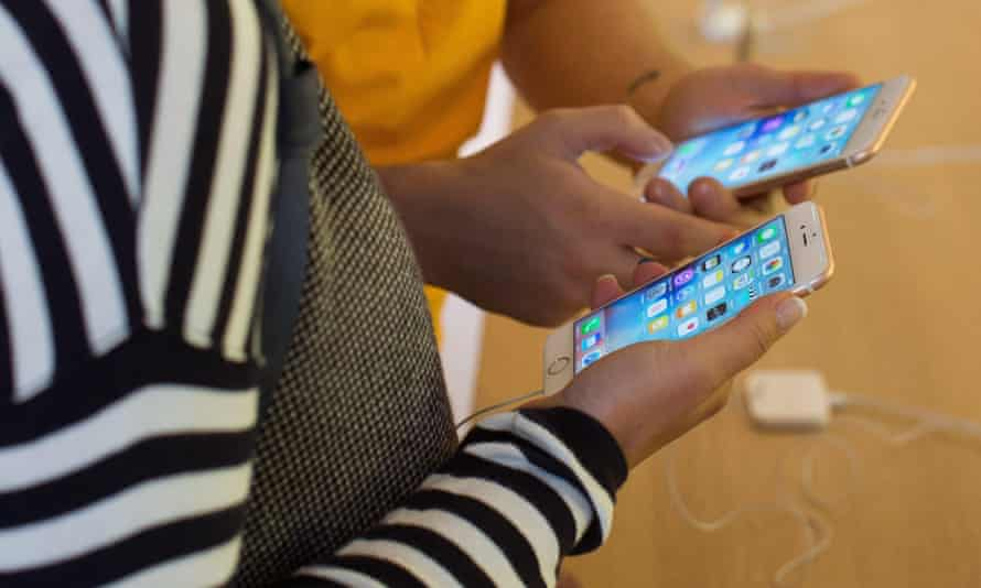 People using iPhones