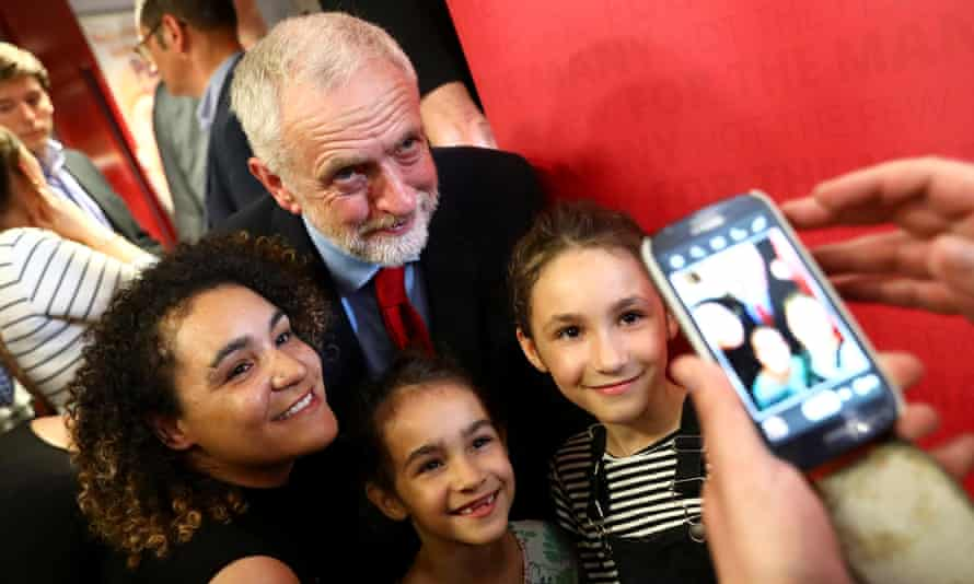 Jeremy Corbyn, the Labour leader, with supporters on the 2017 general election campaign trail.