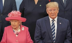 The Queen with the US president, Donald Trump, during commemorations for the 75th anniversary of the D-day landings