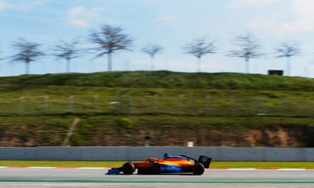 McLaren's Carlos Sainz takes part in winter testing at Barcelona.
