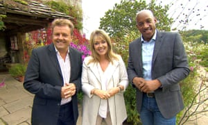 Third wheel... Martin Roberts, Lucy Alexander and Dion Dublin.