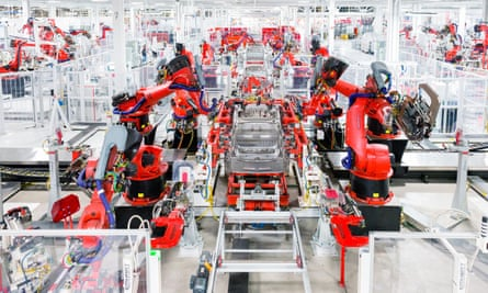 A Tesla Model S being assembled by robots in Fremont, California.