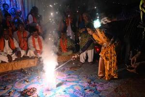 People take part in Diwali celebrations in Lahore, Pakistan