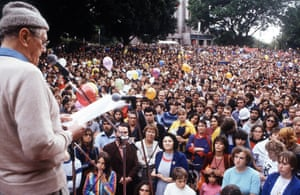 Patrick White at anti nuclear march 1981.