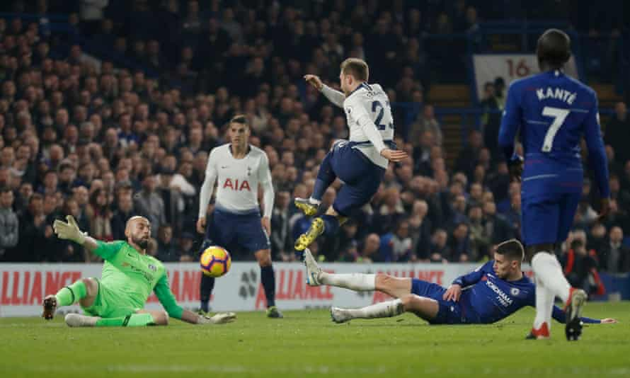 Willy Caballero makes a fine save from Christian Eriksen in the first half against Tottenham Hotspur on Wednesday.