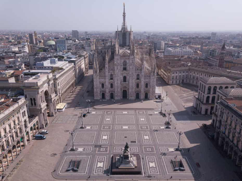 Piazza Del Duomo in Milan, empty during the coronavirus outbreak.