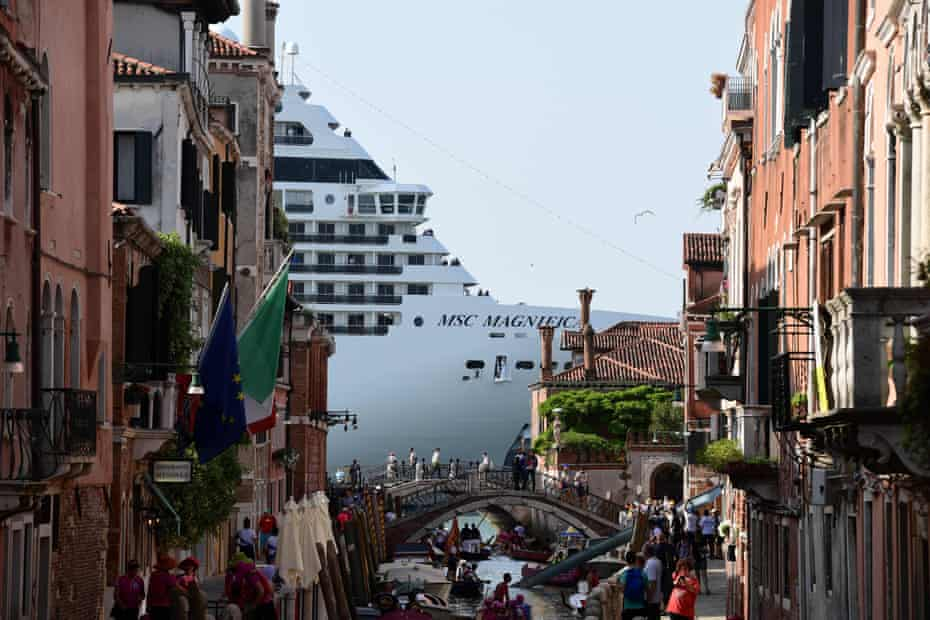 Venice, June 2019 MSC Magnifica is seen from one of the canals leading into the Venice Lagoon