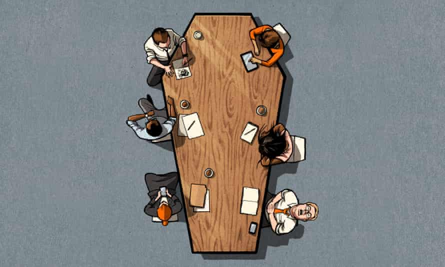 Illustration, of office meeting, by Ben Jennings