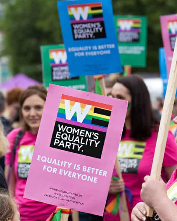 Members of the Women's Equality party take part in the Liverpool Pride parade