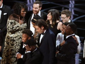 The cast of Moonlight, after winning the Oscar for best picture