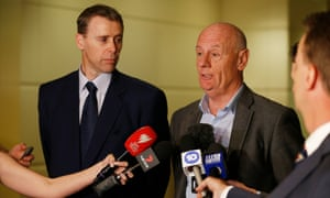 Stephen Mayne (left) and Tim Costello speak to reporters after the Crown Resorts AGM