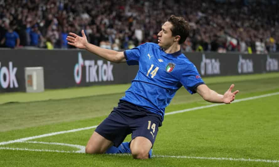 Italy's Federico Chiesa celebrates after scoring against Spain.