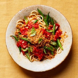 Thomasina Miers' slow-cooked tomato and beans sauce on spaghetti with a lemon crumb topping.