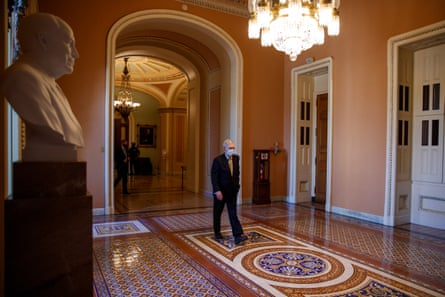 Senate Majority Leader Mitch McConnell walks to his office from the Senate Floor during the COVID-19 coronavirus pandemic at the US Capitol in Washington, DC, USA, 13 May 2020. Republican and Democrat governors have called on Congress to pass legislation that would help states mitigate funding gaps due to the economic impact of the COVID-19 coronavirus pandemic.