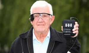 Raymond Flynn, 80, at Manchester Royal Infirmary in July during trials of the 'bionic eye'.