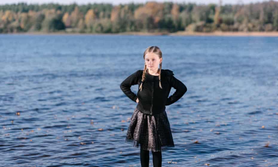 Saga Vanecek standing in lake Vidöstern in Tånnö, southern Sweden