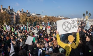 Extinction Rebellion activists at a sit-in on Westminster Bridge in November
