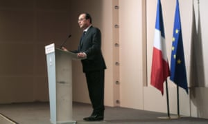 French President Francois Hollande delivers a speech at the Agriculture and Climate Change International Forum in Paris, on 20 February, 2015.