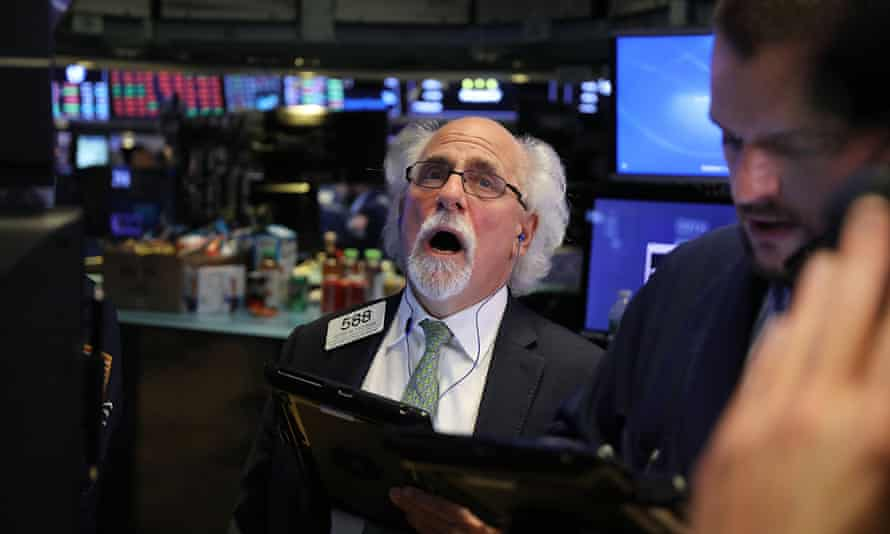 Traders on the floor of the NYSE. After a long stretch of relative calm, the stock market has suffered sharp losses over the last week as bond yields surged.